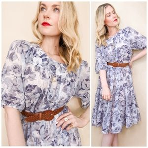 70s Blue Floral Tiered Bohemian House Dress